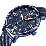 montres pour homme Mode montre étanche ultra fine en acier inoxydable montres à quartz analogique Date avec date Bleu en maille Band