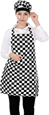 Switchon Checkered Waterproof Cotton Kitchen Apron with Cap