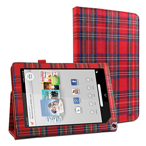 gmyler-folio-case-classic-for-barnes-noble-nook-hd-plus-9-red-royal-stewart-pattern-fabrics-coated-c