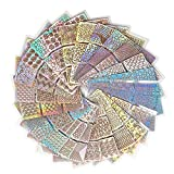 CINEEN 144 Piezas Uñas Vinilos Plantillas Uñas Pegatinas Set plantillas de uñas 72 Diferentes Diseños Linda Fácil Nail Art Decal Stickers