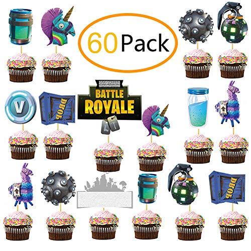 JoyTplay 60 Stücke Cupcake-Dekoration für Geburtstage, Spiel Thema Cupcake Toppers Party Favor,Happy Birthday Kuchen Dekoration Spiel Partei Liefert