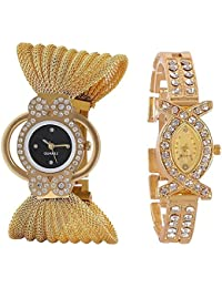 JIYA ENTERPRISE Exclusive Premium Quality Gold Color Watch Combo Of 2 Watches For Girls & Women