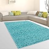 CC Uni-Light Shaggy Teppich Hochflor Samtweich Flokati Einfarbig Türkis, Größe in cm:140 x 200 cm