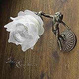 Wandleuchte Echt-Messing Glasschirm Blütenform Deko Putte Handarbeit Massiv Premium Qualität Jugendstil Wandlampe