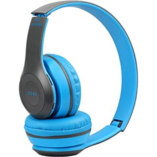 esuav Wireless Bluetooth Portable Sports Headphones with Microphone, Stereo Fm,Memory Card Support  P47 Headphone   Blue…