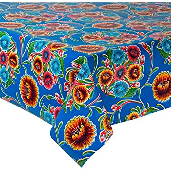 New Mexican Oilcloth Tablecloth PVC Cotton Waterproof  Blue Flowers 100 X 120 Cm