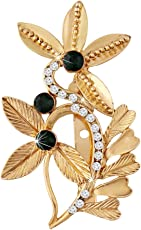I Jewels Gold Plated Traditional Golden Finish Flower Brooch SM16B