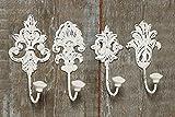 Appendiabiti a parete, bianco, di metallo, 4pz a un prezzo. Dimensioni: ca. 8*6*17cm Più di 200 articoli decorativi nel nostro negozio ELVIS, LONDON, PARIS, CAPPUCCINO, e molti altri - Tinas Collection - Il design leggermente diverso