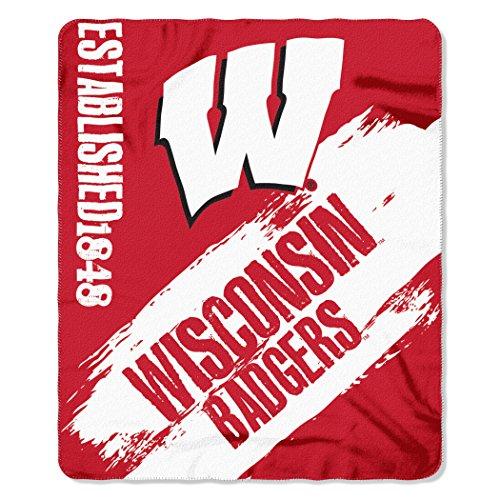 Northwest NCAA Wisconsin Badgers bemalt bedruckt Fleece Überwurf Decke, 127x 152,4cm Cardinal