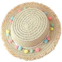 JUNGEN Moda niños sombrero colorido de la bola de felpa sombrero de paja de playa sombrero de sol (Beige)