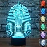 Sphinx Pharao 3D Optische Illusions-Lampen, FZAI Tolle 7 Farbwechsel Acryl berühren Tabelle Schreibtisch-Nachtlicht mit 150 cm USB-Kabel für Kinder Schlafzimmer Weihnachten Geburtstagsgeschenke