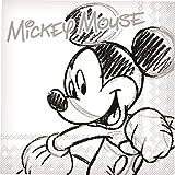 Mickey Mouse Servietten Disney-Tischdeko 20 Stück Weiss-grau-schwarz 33x33cm Einheitsgröße