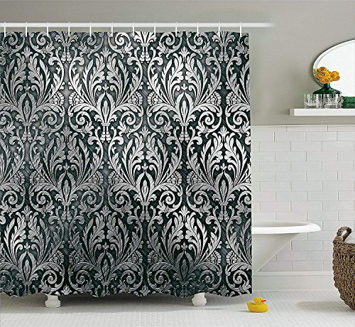 Silver Shower Curtain, Graphic with Classic Floral Ornaments Medieval Empire Royal Engraving Style Print, Fabric Bathroom Decor Set with Hooks, 60x72 inches, Grey Black