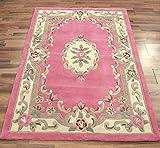 Petit tapis chinois classique motifs fleuris Aubusson 100% laine tufté à la main Rose 75x 150cm...