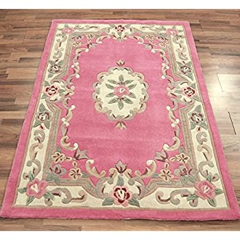 Small Traditional Classic Aubusson Floral 100% Wool Hand Tufted Chinese Rug,  Pink   75 X 150cm