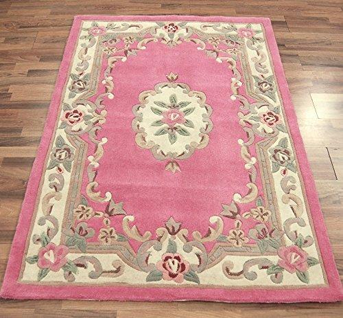 Kleine traditionelle klassische Aubusson Floral 100% Wolle Handgetuftet Chinesische Teppich, pink–75x 150cm (Teppich Chinesische)