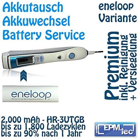 Eneloop Akkuwechsel für alle OralB Triumph 5000 9000 9500 9700 9900 - Batterie Battery Akku Replacement Service Oral-B Akkutausch auch für 5500, 6500, 6000, 7000, 8000, 8300, 8500, 8900, 9400 und Modellnummern 3731, 3738, 3762 und 3764 Premium 3UTGB