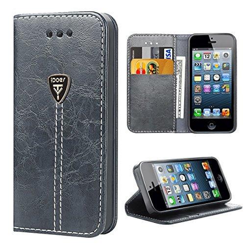 iPhone 5S Flip Case, iPhone 5Fall, iphone SE Schutzhülle, idoer Slim Magnetischer Flip Leder Brieftasche mit Ständer, 2Kartenfächern, Cash Tasche, Flip Ständer Schutzhülle -