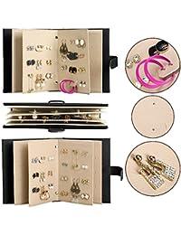 UZOU Organizador-expositor de pendientes tipo cartera, portátil, piel sintética, capacidad para guardar 42pares de pendientes