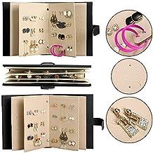 Exhibición de la joyería caja de almacenamiento de soporte pendientes 42 pares cuero de la PU del cuaderno de limpieza Twolights