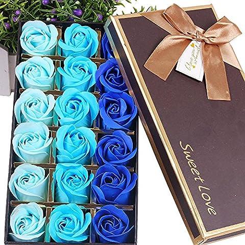 TININNA 1 Caja de 18 pcs Rose Jabón Flor de Regalo,Jabón de Baño de Fascinante Ramo de Rosas, Forma Bonita Jabón Rose Petal para decoración de la boda-Gradiente - Azul