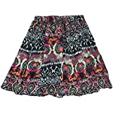 Mogul Interior Womens Beach Skirt Floral Printed Cotton Boho Sexy Mini Skirt M