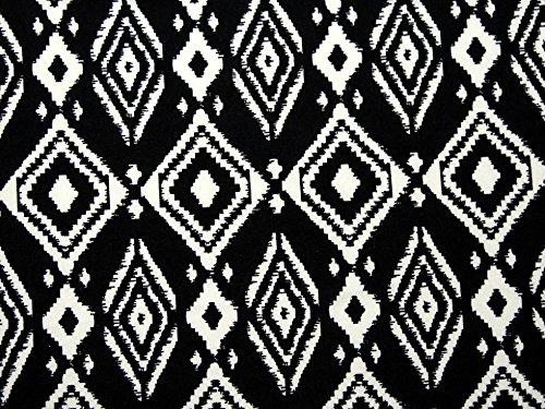 Geometrische Print Stretch Jersey Knit Kleid Stoff schwarz &, Meterware, Elfenbeinfarben (Print-stretch-jersey)