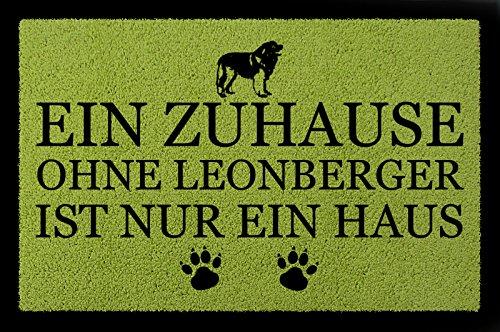 TÜRMATTE Fußmatte EIN ZUHAUSE OHNE [ LEONBERGER ] Hund Haustier Viele Farben Grün