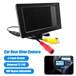 KKmoon 4.3 inch LCD Display Car Rear View Camera 180 Degree Adjustable Backup Reverse Monitor Screen for Cars SUV Van...