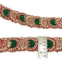 Moldeado rojo Recorte floral bordada cinta Craft 5,3 cm de ancho Fronteriza Por The Yard