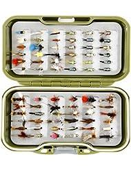 GS Fly Box Set mixtes truite Pêche à la mouche mouches Taille 12x MIXTES sèche pipi Nymphe et doré Tête Flash fermoirs X 72mouches Superbe Petit cadeau de pêche de Noël ou idée de cadeau