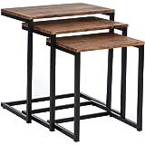 MEUBLE COSY Table Gigogne Bois et Metal, Table Basse Design Bois en Lot de 3, Petite Table Basse Gigogne Scandinave, Tables d