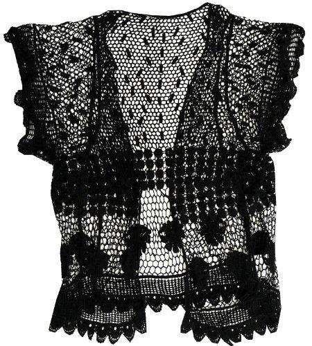 femmes BOLERO été haut Housse Pistachio femmes Crochet Tricot Cardigan Noir