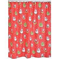 Ridder 478150, Tenda da doccia in poliestere, motivo natalizio, 12 ganci inclusi, 180 x 200 cm, Rosso (Rot)