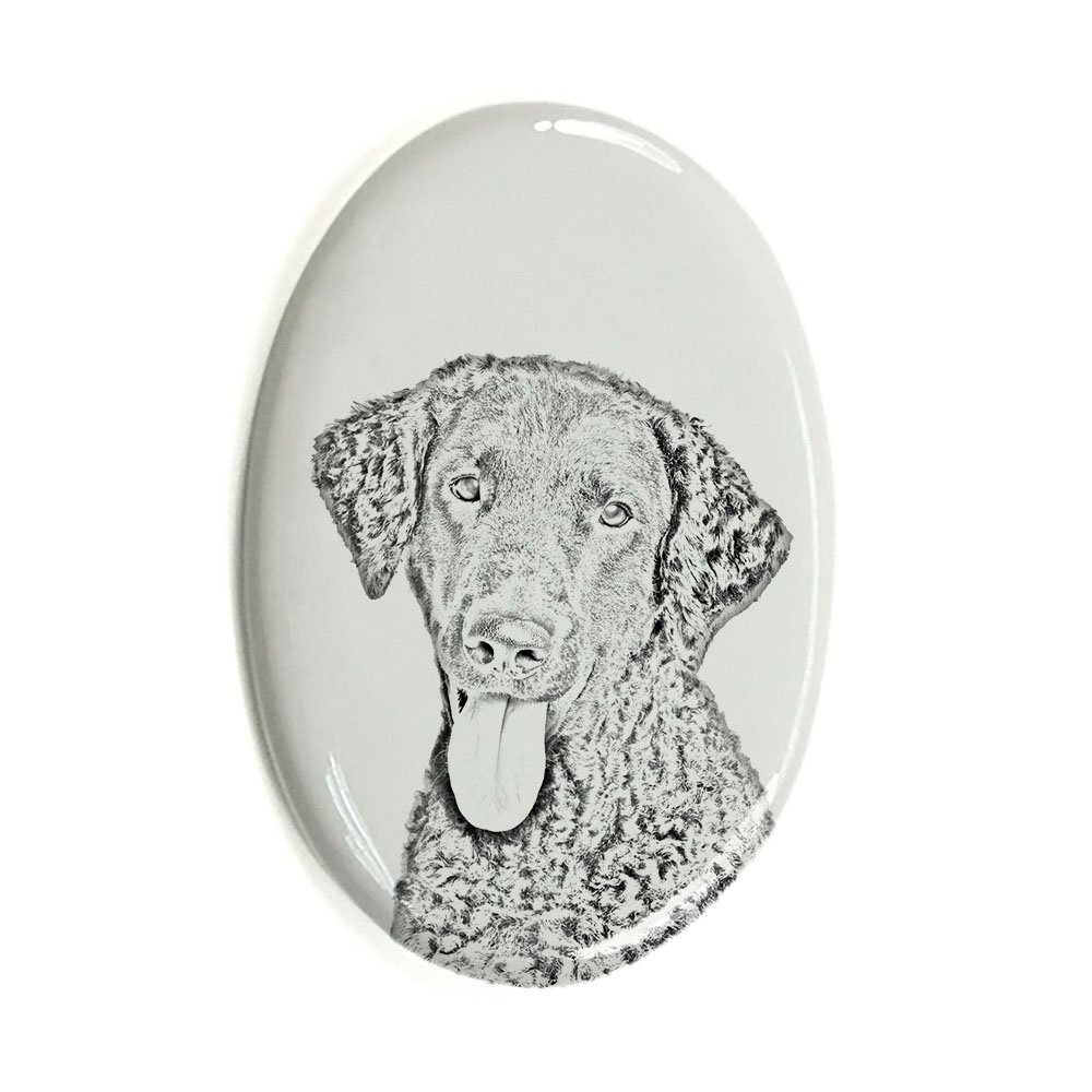 ArtDog Ltd. Curly Coated Retriever, oval gravestone from ceramic tile with an image of a dog