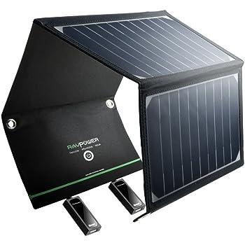 Pannelli Solari Portatili RAVPower Caricabatterie Solare da 16W con 2 Porte USB iSmart (21.5-23.5% Conversione Energia Solare, Pieghevole, Impermeabile, iSmart) per Smartphones Tablet Camping Viaggio