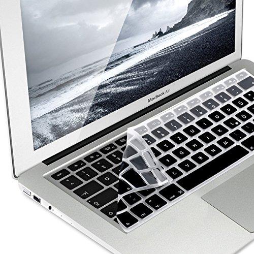 kwmobile Tastaturschutz Apple MacBook Air 13''/Pro Retina 13''/15'' (bis Mitte 2016) - QWERTZ Silikon Laptop Tastaturfolie - Notebook Tastaturschutzfolie Schwarz Grau (Tastatur-abdeckung Mac Retina)