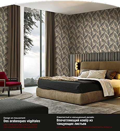 Gold Leaf Wallpaper (Tapete Fliegen 44301 taupe gold, glitzer Schwarz Silber a Relief Italian Wallpaper Leaves)