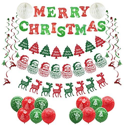 Weihnachtsdeko, PietyDeco Weihnachtsbaum Girlande Weihnachten Dekoration Set mit Spiralen Dekoration und Luftballons für Weihnachten Dekoration, Hauptdekorationen, Partei Dekoration