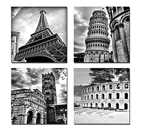 Wieco Art - Architectures Modern 4 Panels Giclee Canvas Prints Europe Buildings Black and White Landscape Pictures Paintings on Canvas Wall Art Ready to Hang for Bedroom Home Office
