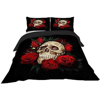 Stillshine Bettwäsche Set Bettbezug Halloween 3d Skull Rose