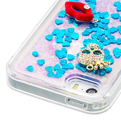 Mk Shop Limited Coque pour iPhone SE, iPhone 5 / 5S Coque,iPhone SE / 5S / 5 Gel 3D Transparent Hourglass Sables Mouvants Liquide Coque Slim Soft Etui Housse, iPhone SE / 5S / 5 Silicone Clear Case TP Multi-couleur 6