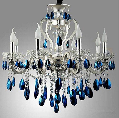 Murano-metall-kronleuchter (WSND Pendelleuchte Blau Kristall Anhänger Lichter europäischen Stil Kronleuchter Wohn-Zimmer Cafe Bar Luxushotel Zimmer 8Heads)