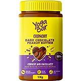 Yogabar Crunchy Peanut Butter 1kg | Dark Chocolate Peanut Butter with High Protein & Anti-Oxidants | Creamy, Crunchy & Chocol