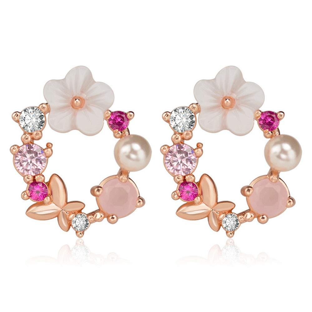 Ogquaton Creativo Círculo Creativo Círculo de perlas Arco Dulce Pendientes Accesorios de regalo para fiestas
