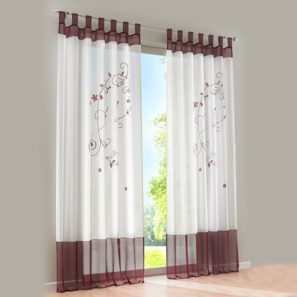 Amazonde Bestickte Blume Gardine 1er Pack Vorhang HB 225140cm Grau