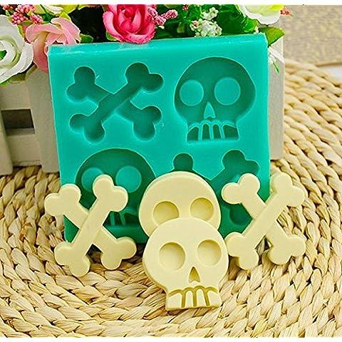 Bluelover Halloween esqueleto silicona torta molde cráneo hueso con leche jaleaChocolate molde de la hornada
