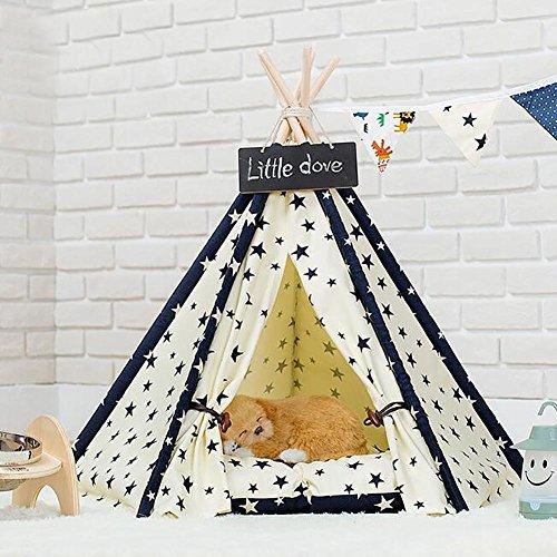 Myyxt Haustier-Zwinger-Zelt mit Matten, die von Baumwollsegeltuch und von 5 Kiefer-hölzerner Stange gebildet werden, um Spirale-Stern-Modelle zu unterstützen Hunde-Spiel-Haus