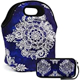 """Lunch Bag Extra Large Insulated Lunch Box 13.5"""" X 13.5"""" X 7.5"""" Zipper Tote Bags With Wallte Pouch 6.5""""L X 3.5H"""" (Navy Blue)"""