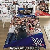 WWE 2K17 Parure de lit réversible avec Face d'un côté et Heel de l'autre Pour lit 1 place ou 2 places, bleu, Housse de couette 1 personne